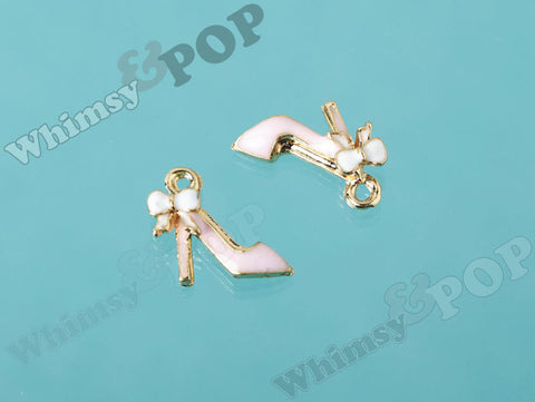 Tiny Pink High Heel Shoe Charm With Bow - WhimsyandPOP