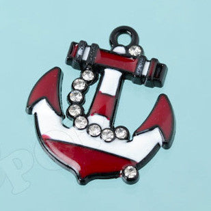 Red and White Anchor Rhinestone Charm - WhimsyandPOP