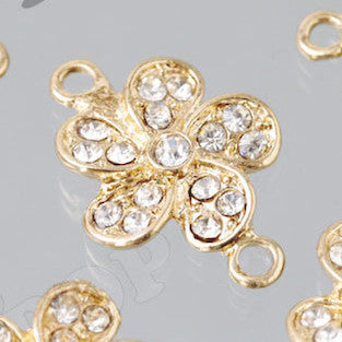 Rhinestone Flower Connector Charm