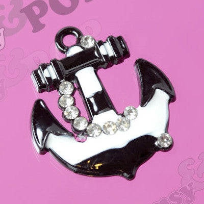Black and White Anchor Rhinestone Charm - WhimsyandPOP