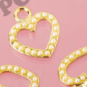 Gold Tone Pearl Heart Charms - WhimsyandPOP