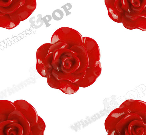 RED 28mm Begonia Flower Cabochons