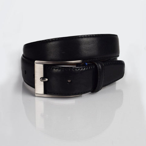 Boconi black contrast stitch belt