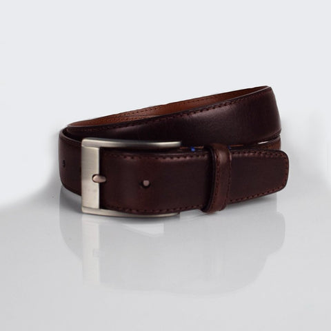 Boconi brown contrast stitch belt
