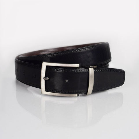 Boconi Reversible flat finish black and brown leather belt