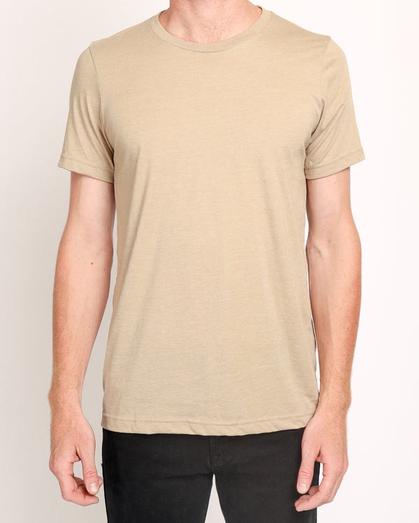 Crew Neck Tee in Heather Tan