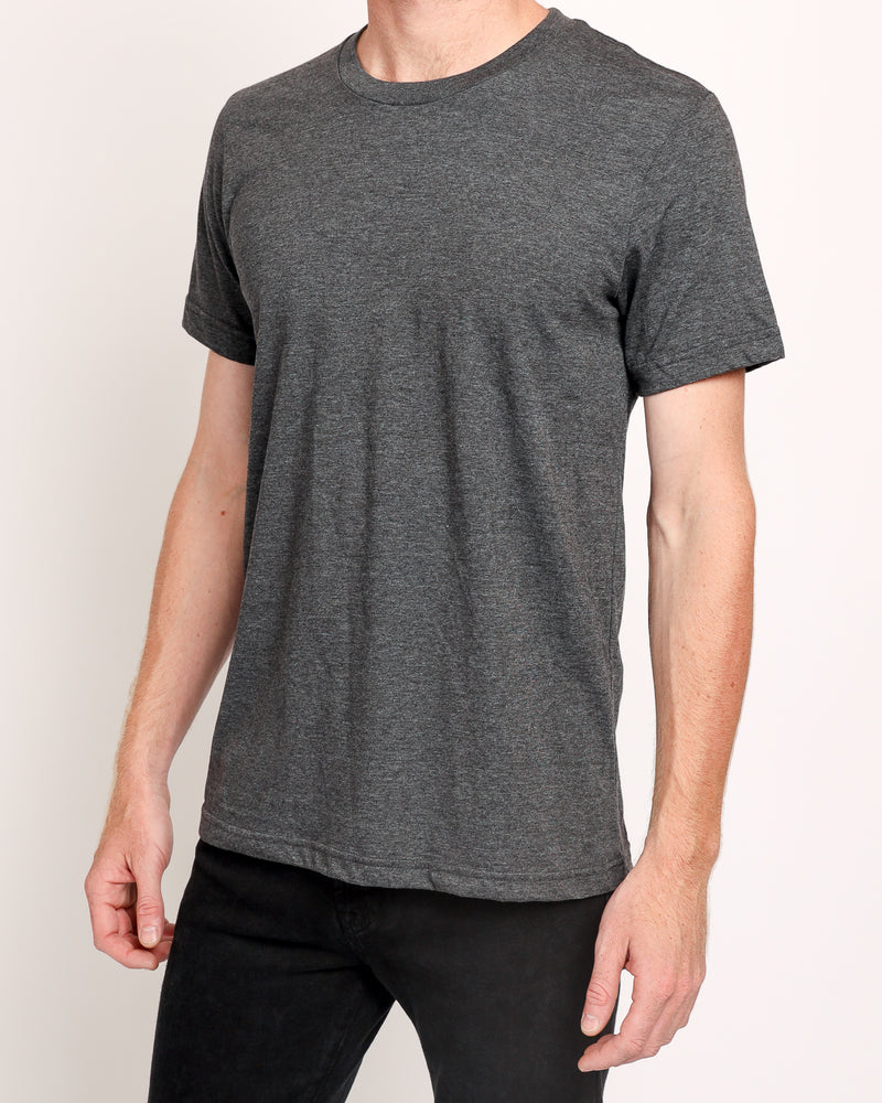 Crew Neck Tee in Dark Grey Heather