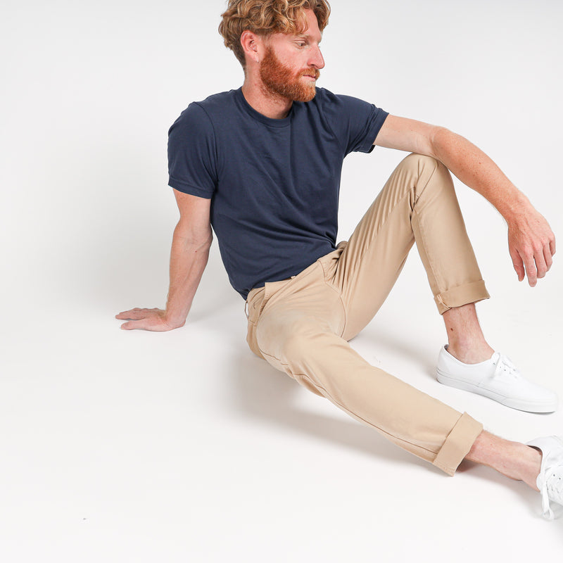 Trouser Pant in Italian Twill Garment-Dyed in Khaki