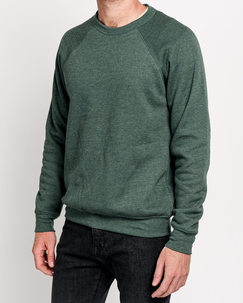 Raglan Sleeve Fleece in Heather Forrest
