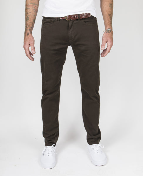 5 - Pocket Garment-Dyed Italian Twill in Dark Olive