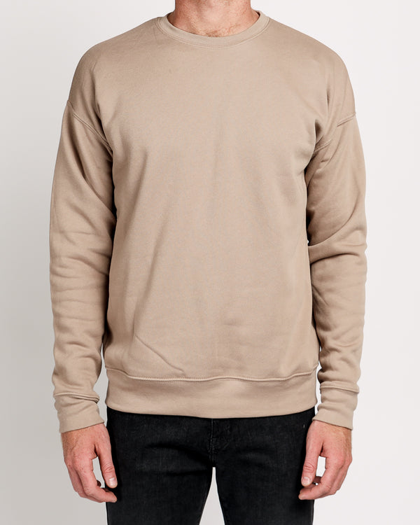 Drop Shoulder Fleece in Tan