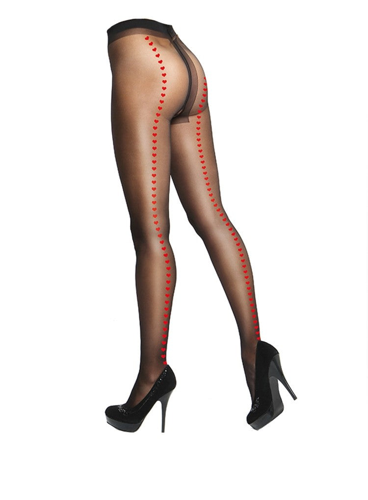 MISSO CROTCHLESS PANTYHOSE WITH RED HEART BACKSEAM P112