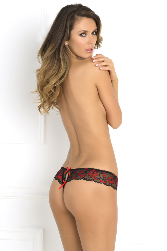 Rene Rofe Sexy Crotchless Lace Thong with Bows
