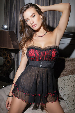 Rene Rofe Lace Up Garter Chemise & G-String Set
