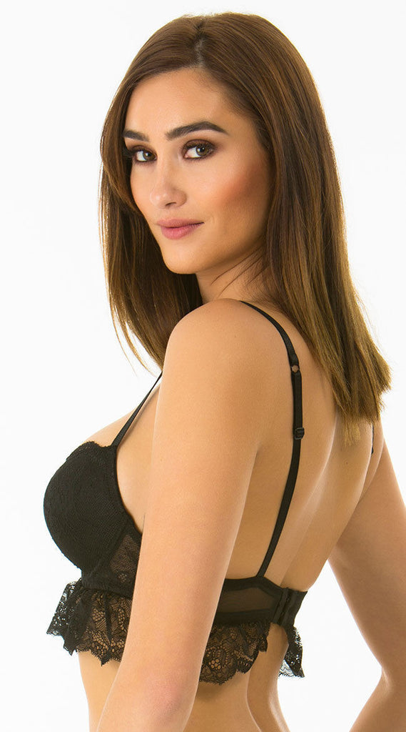 Rene Rofe Everyday I'm Frilling Black Lace Bra