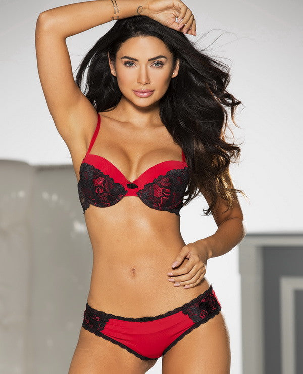 Rene Rofe Red with Black Lace Bra
