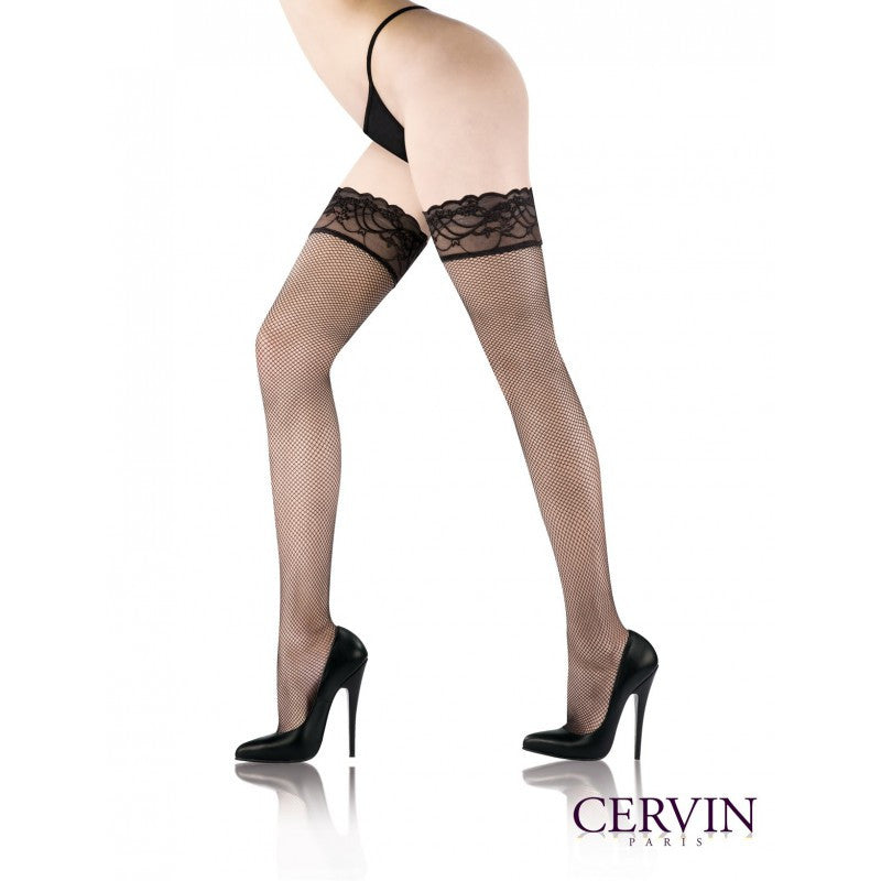 Cervin Reseda Fishnet with lace Top Thigh Highs