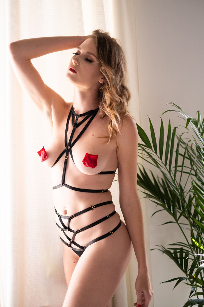 Fabi Black Strappy Bondage Set