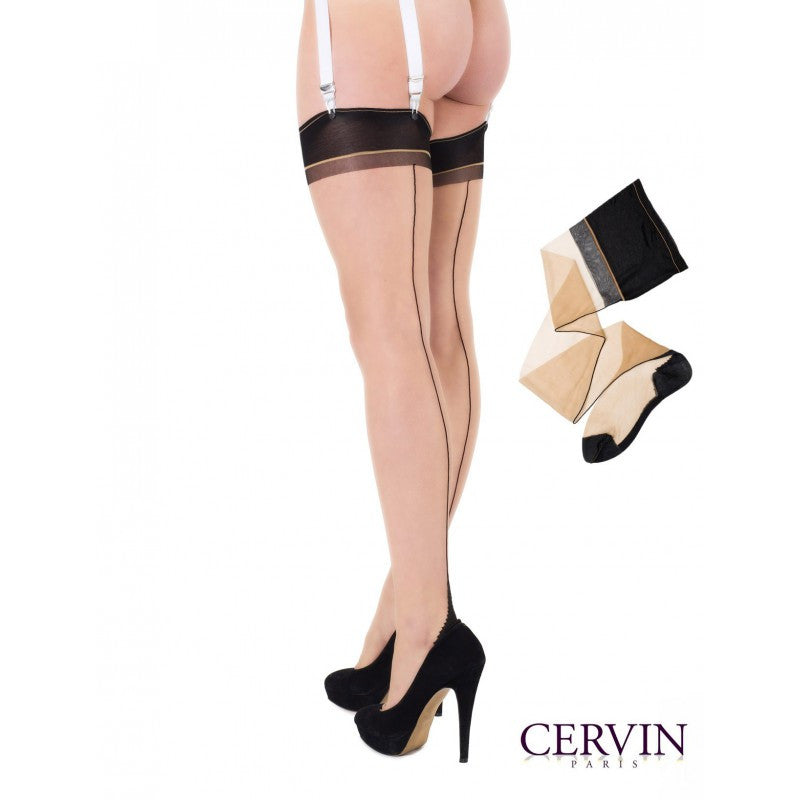 Cervin SEDUCTION BICOLOUR SEAM Non-stretch Stockings