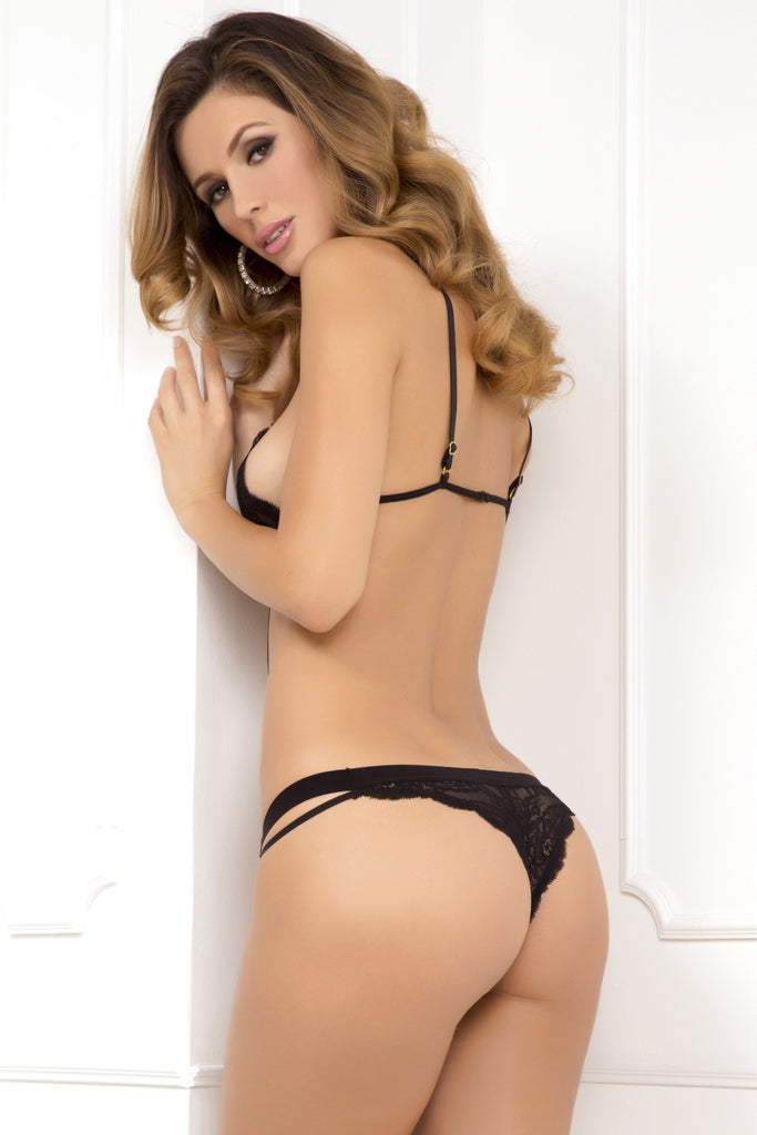 Rene Rofe Strappy Seduction Lace Cup Teddy Lingerie