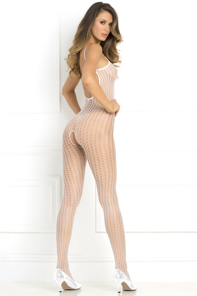 Rene Rofe Quarter Crochet Net Crotchless Bodystocking