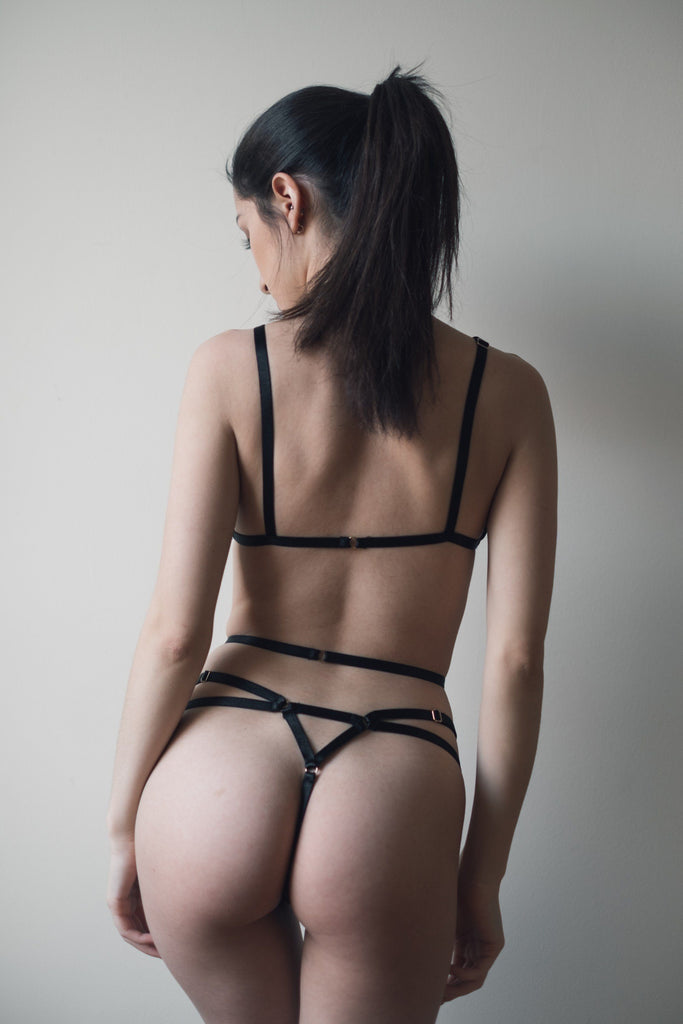 Ella  Black Erotic Bondage Lingerie Set