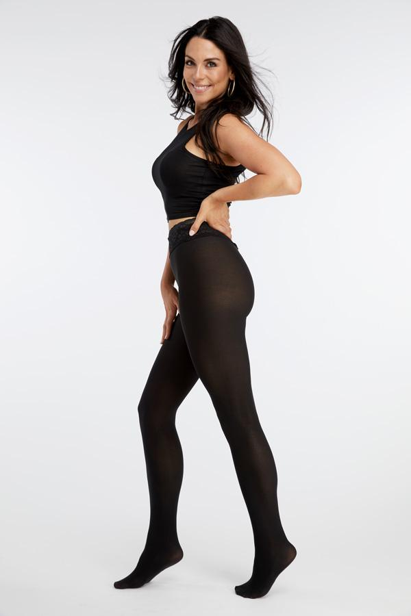 Hipstik Black Opaque Comfort Top Pantyhose