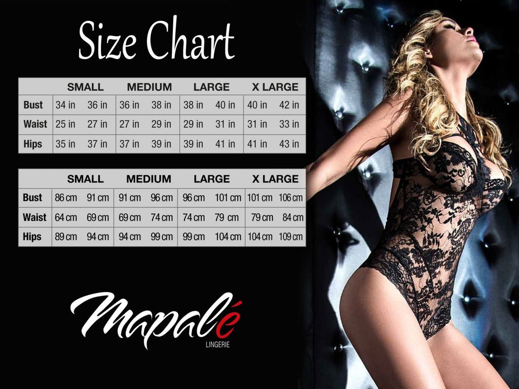Mapale 7343 Babydoll With Underwire and Matching G-String Color Black