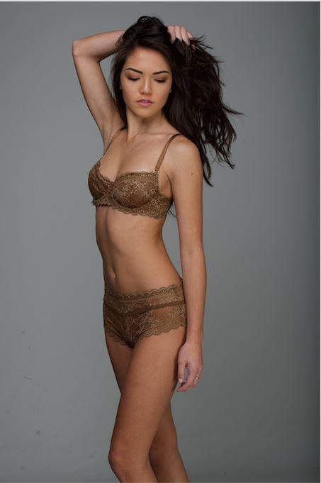 Jasmine Bra And Panty Brown Lace Lingerie Set