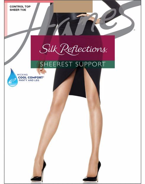 Hanes Silk Reflections Sheerest Support Control Top Sheer Toe Pantyhose