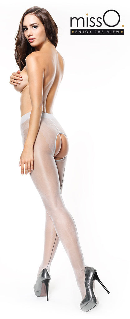 MISS O P211 PANTYHOSE WITH BACKSEAM and Larger Open Crotch