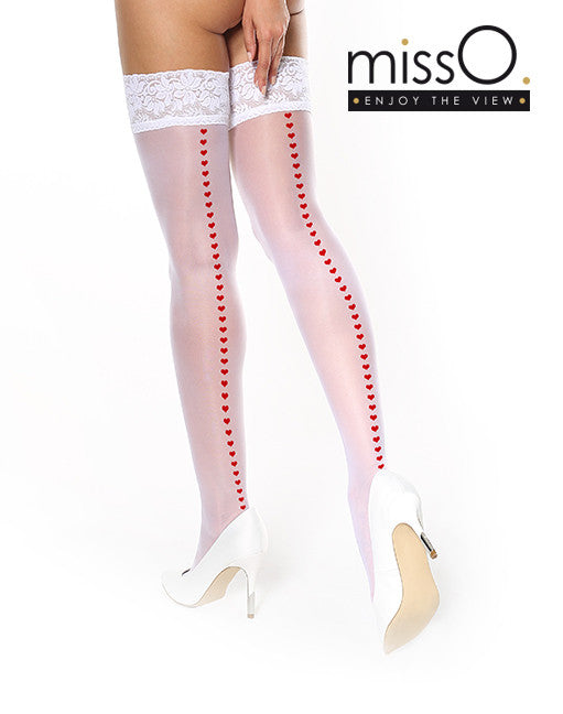 MISSO HOLD UPS LACE THIGH HIGH WHITE WITH RED HEART BACKSEAM