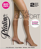 PLATINO TOTAL CONFORT 20 DEN  KNEE HIGHS- 2 PACK
