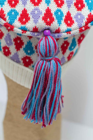 Hat Bizarre - Bobbles - TASSEL | TURQUOISE-RED-PURPLE