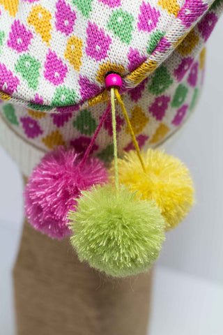 Hat Bizarre - Bobbles - TIDDLY POMS | PINK-YELLOW-GREEN