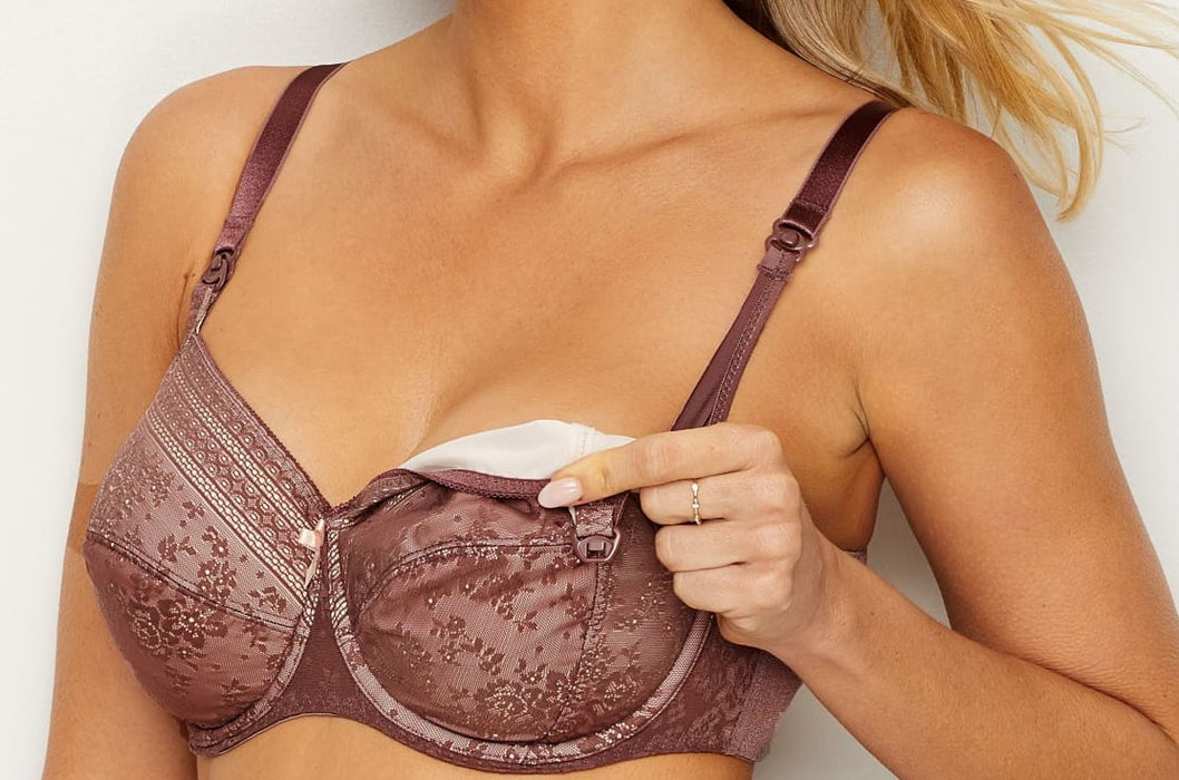 A good maternity bra at an affordable price, Anita Fleur, with drop cups for easy nursing. Color Berry. Style 5053.