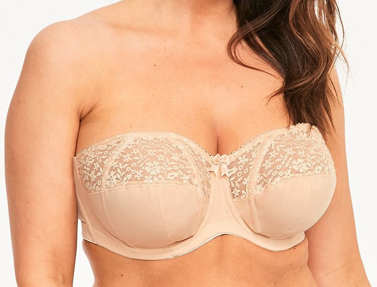 Goddess Adelaide, a versatile plus size strapless bra. Wear it with straps if you want.  Amazing shape and support. Color beige. Style GD6663.