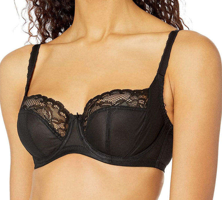 A classic Panache bra, Jasmine, in a balconette with great support and style in a classic black that pairs easily with black panties. Style 6951.
