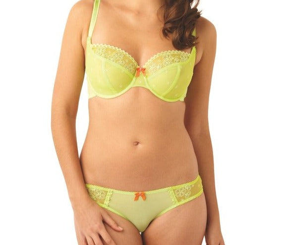 Made by Panache, this is Lucy from their Cleo line. A seamed, 3part cup, wired, balcony bra. Sides and back are made of powermesh for a secure fit and cups are lined at bottom for extra support. Style 5851.