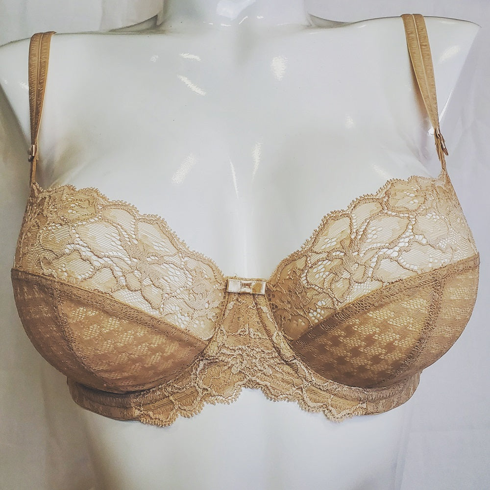 Panache Envy, a full cup demi bra with a side panel. Color beige. Style 7285.