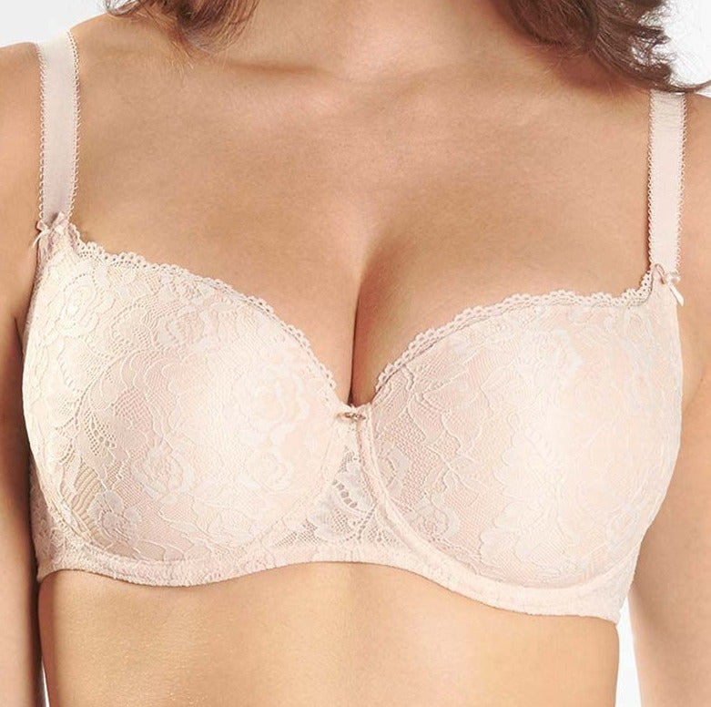 Aubade Rosessence, a moulded, contour, tshirt bra with amazing shape provides superior comfort at a sale price. Color Beige. Style HK04.