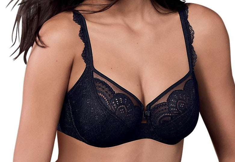 This Rosa Faia bra by Anita, a beautiful lace bra, sheer cups with embroidered lace overlay. Color black. Style 5634.