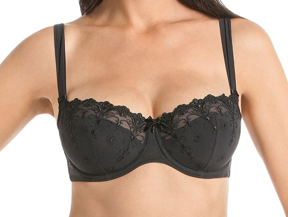 A discontinued Rosa Faia bra by Anita, Edelweiss, this balconette bra with padding gives you shape, modesty, and style. Color Black. Style 5608.