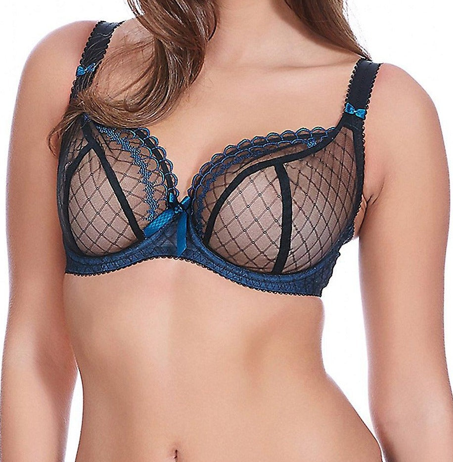 Freya's Pulse is a heart racer bra! Plunge. See through mesh. Sheer. Embroidered. Bows. Wow. Style  1991.