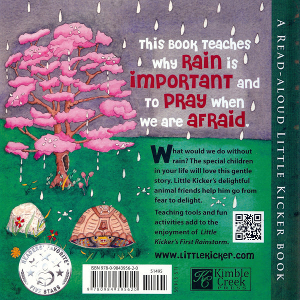 Little Kicker Books brings Little Kicker's First Rainstorm to little-kids-books to help overcome childrens-fears.