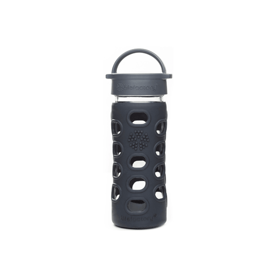 Onelife Singapore.12oz Glass Bottle with Classic Cap [SG Exclusive Colours],Black