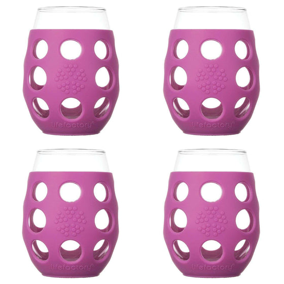 Onelife Singapore.11oz Wine Glass 4 Pack with Silicone Sleeves,Huckleberry