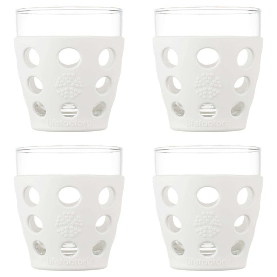 Onelife Singapore.10oz Beverage Glass 4 Pack with Silicone Sleeves,Optic White