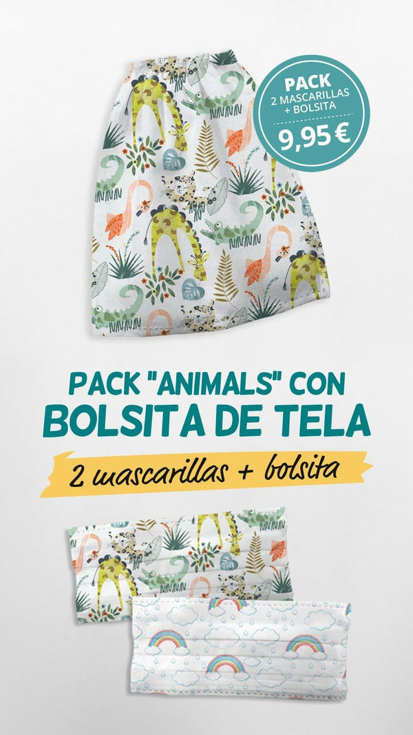 Pack Bolsita + 2 mascarillas higiénicas ANIMALS - sokios