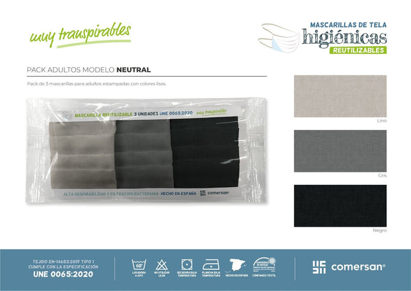 Pack mascarillas higiénicas estampadas NEUTRAL  3 unidades - sokios